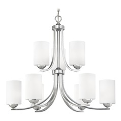 Modern Chrome Chandelier with Satin White Cylinder Glass