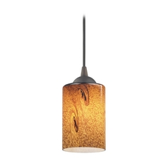 Design Classics Lighting Modern Mini-Pendant Light with Brown Art Glass 582-220 GL1001C