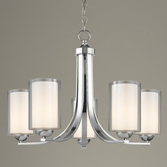 Modern Chandelier Double Glass Chrome 5-Lt