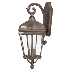 Outdoor Wall Light with Clear Glass in Vintage Rust Finish