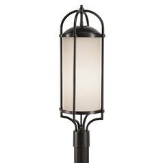 Modern Post Light with White Glass in Espresso Finish