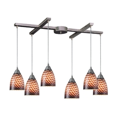 Modern Multi-Light Pendant Light with Art Glass and 6-Lights