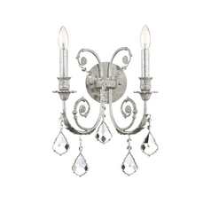 Crystal Sconce Wall Light in Olde Silver Finish