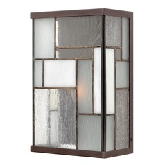 Outdoor Wall Light with Art Glass in Buckeye Bronze Finish