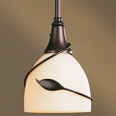 Hubbardton Forge Lighting Leaf Dark Smoke Mini-Pendant Light