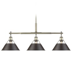 Golden Lighting Orwell Ab Aged Brass Billiard Light with Conical Shade