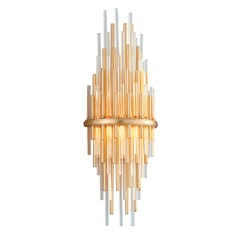 Modern Art Deco LED Sconce Gold Leaf / Stainless Theory by Corbett Lighting