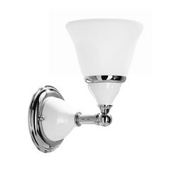 Sconce with White Glass in Polished Brass Finish
