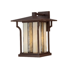 Outdoor Wall Light with White Glass in Chocolate Bronze Finish