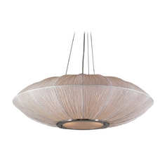 Modern Pendant Light with White Shades in Ivory Finish
