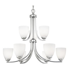 Chrome Two Tier Chandelier with Satin White Cylinder Glass
