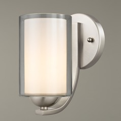 Modern Sconce Clear / Frosted White Glass Satin Nickel