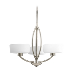 Progress Modern Chandelier with White Glass in Brushed Nickel Finish
