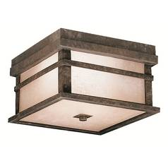 Kichler Close To Ceiling Light with Brown Glass in Aged Bronze Finish
