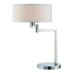 Lite Source Lighting Landon Polished Steel Swing Arm Lamp with Drum Shade