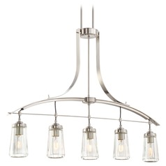Minka Poleis Brushed Nickel Island Light with Fluted Shade