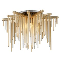 Modern Art Deco LED Semi-Flushmount Light Gold Leaf / Stainless Theory by Corbett Lighting