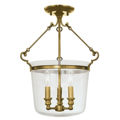Semi-Flushmount Light in Aged Brass Finish