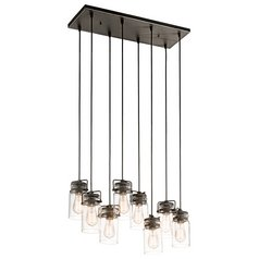 Kichler Lighting Brinley Olde Bronze Multi-Light Pendant with Cylindrical Shade