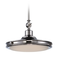 LED Pendant Light with White Glass in Polished Nickel Finish