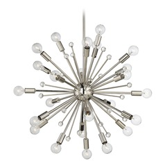 Mid-Century Modern Chandelier Polished Nickel Galea by Savoy House