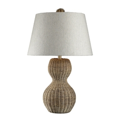 Table Lamp with Grey Shade in Light Natural Rattan Finish