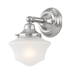 Prismatic Glass Schoolhouse Sconce Satin Nickel 1 Light 6 Inch Width