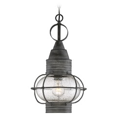 Seeded Glass Outdoor Hanging Light Black Savoy House