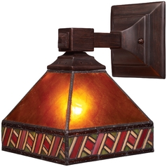 Sconce Wall Light with Amber Mica Shade in Mission Bronze Finish