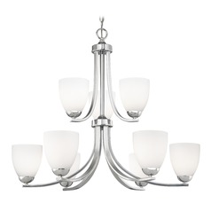 Nine Light Chandelier with Opal White Bell Glass in Chrome Finish