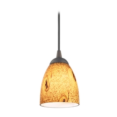 Design Classics Lighting Modern Mini-Pendant Light with Brown Art Glass 582-220 GL1001MB