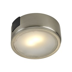 Satin Nickel Surface Mount LED Puck Light - 2700K LED