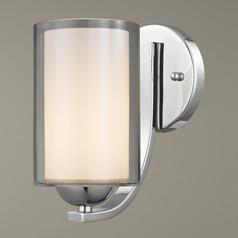 Modern Sconce Clear / Frosted White Glass Chrome