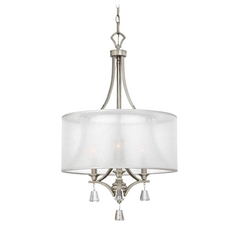 Modern Drum Pendant Light with White Shade in Brushed Nickel Finish