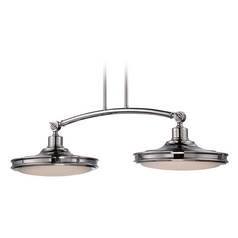 LED Island Light with White Glass in Polished Nickel Finish