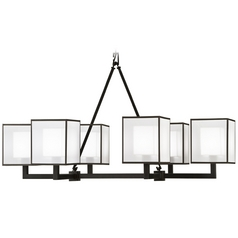 Fine Art Lamps Black + White Story Black Satin Lacquer Chandelier