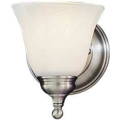 Sconce Wall Light with Alabaster Glass in Pewter Finish