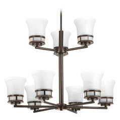 Transitional Chandelier Bronze Cascadia by Progress Lighting