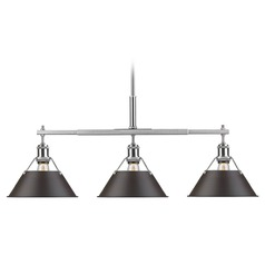 Golden Lighting Orwell Pw Pewter Billiard Light with Conical Shade