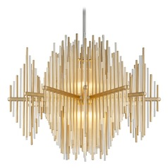 Modern Art Deco LED Pendant Light Gold Leaf / Stainless Theory by Corbett Lighting