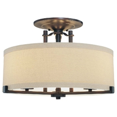 Modern Semi-Flushmount Lights in Aged Kinston Bronze Finish