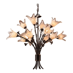 Chandelier with Beige / Cream Glass in Aged Bronze Finish