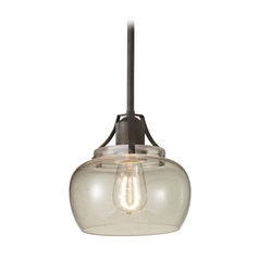 Retro Style Mini-Pendant Light with Seeded Glass Shade