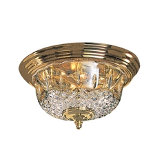 Crystal Flushmount Light with Clear Glass in Polished Brass Finish