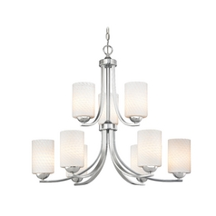 Chrome Modern Chandelier with White Art Glass and Nine Lights