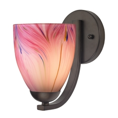 Sconce with Pink Art Glass in Bronze Finish