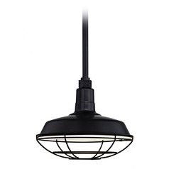 Black Pendant Barn Light with 12