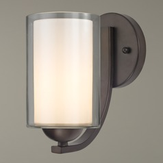 Modern Sconce Clear / Frosted White Glass Bronze