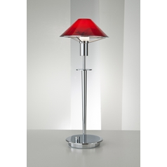Holtkoetter Modern Table Lamp with Red Glass in Chrome Finish