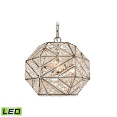 Elk Lighting Constructs Weathered Zinc LED Pendant Light with Hexagon Shade